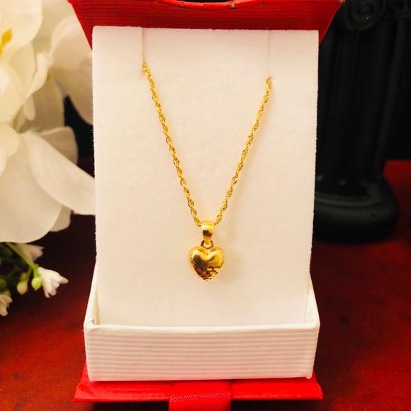 Stamped Jewelry 18k Real Saudi Gold Small Heart Pendant W Chain Poshmark